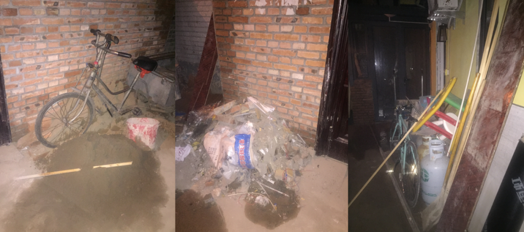 Rubbish outside and inside the courtyard due to construction work